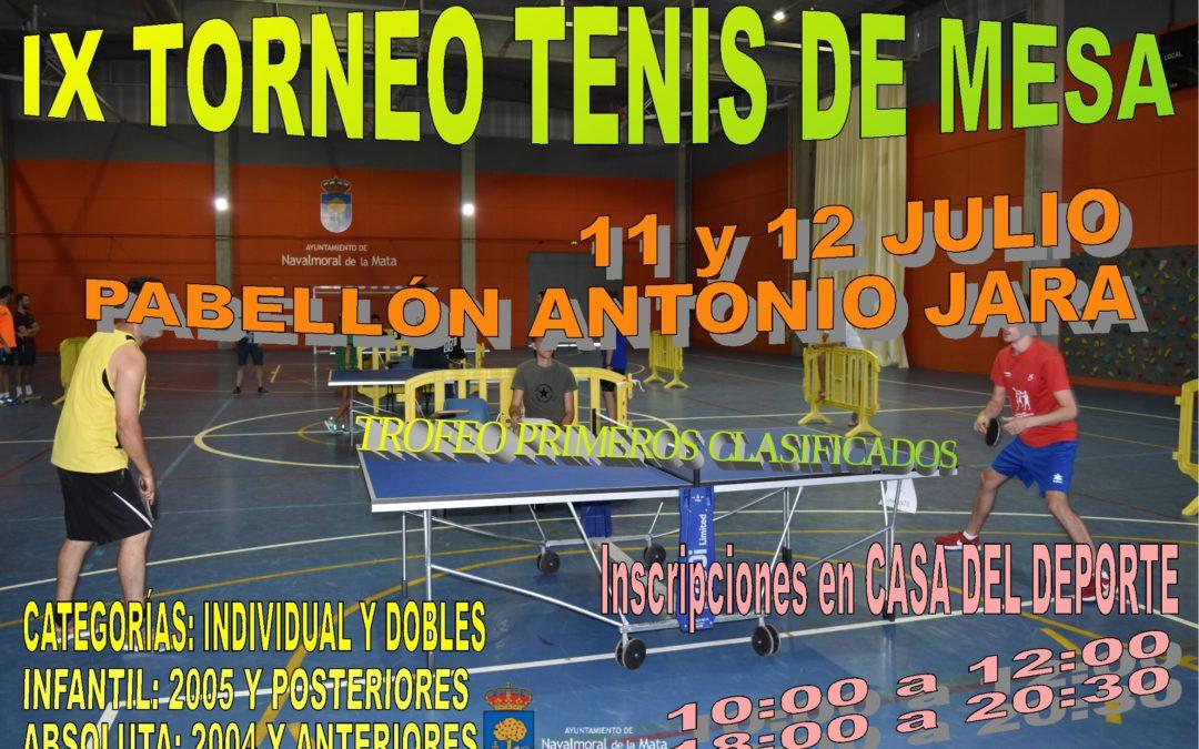 IX Torneo de Tenis de Mesa de Navalmoral de la Mata.
