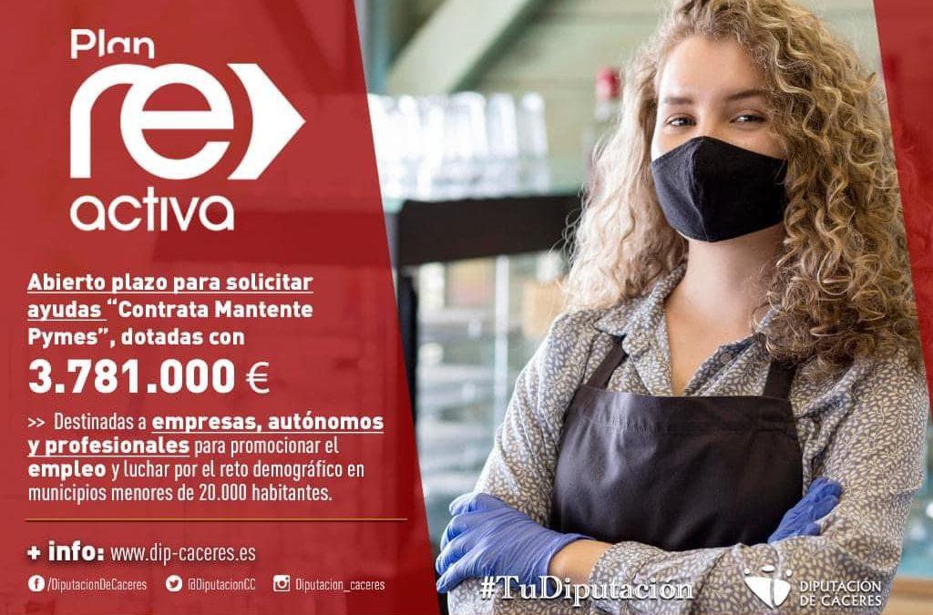"""""""Contrata-mantente Pymes"""", 3.781. 000 € en ayudas para empresas, autónomos y profesionales de municipios menores de 20.000 habitantes."""